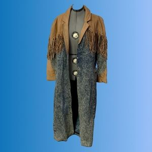 Diamond Denim & Leather Fringe Duster Western Coat